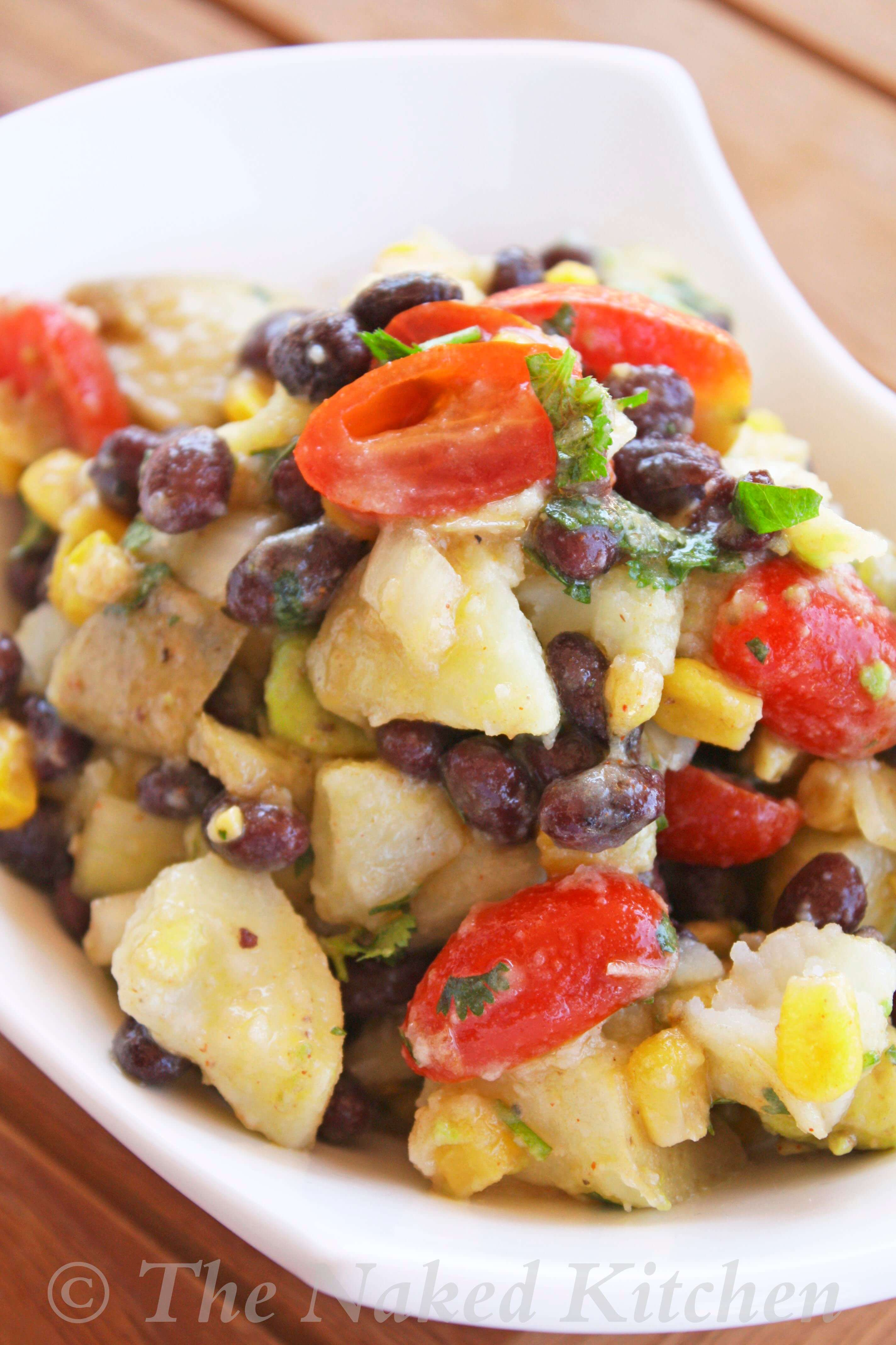 Black Bean Potato Salad with Oil Free Avocado Dressing