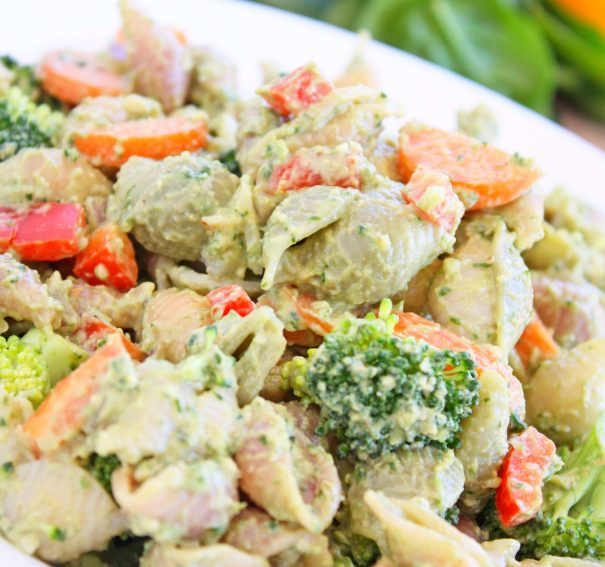 Pasta Salad with Creamy Lemon Avo Pesto