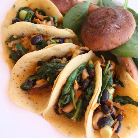 Spinach and Mushroom Stuffed Mini Brown Rice Crepes