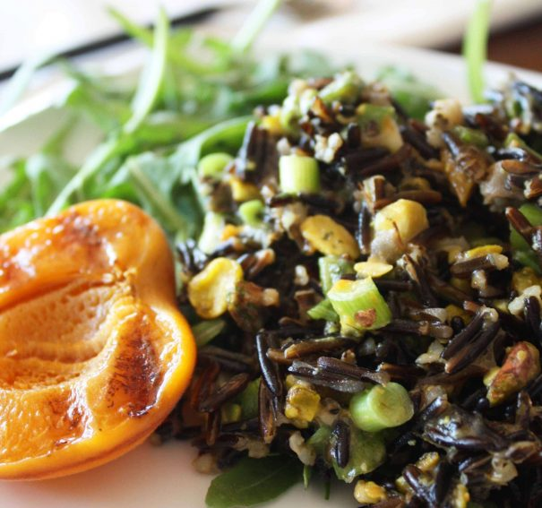 Black Rice with Grilled Apricots