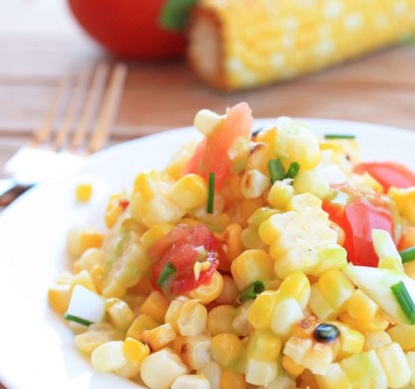 Grilled Corn Salad with Creamy Basil Dressing