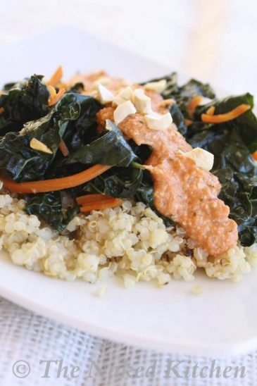 Sauteed Kale with Thai Chili Cashew Sauce