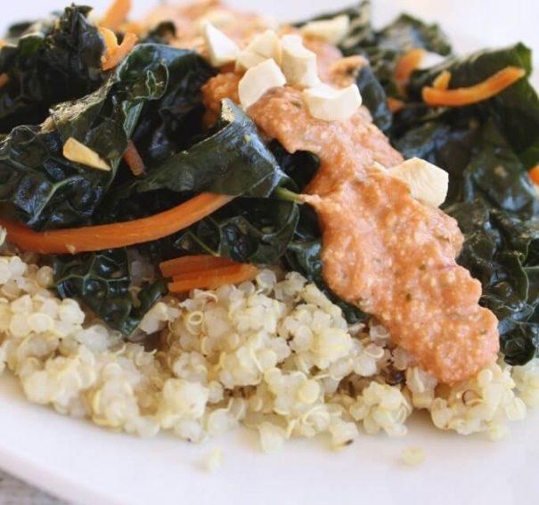 Sauteed Kale with Thai Chili Cashew Sauce