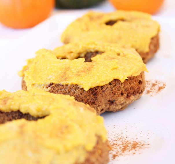Pumpkin Spiced Donuts with Creamy Pumpkin Frosting